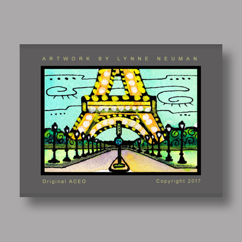 Signed ACEO *Eiffel Tower Paris #4216* by Lynne Neuman