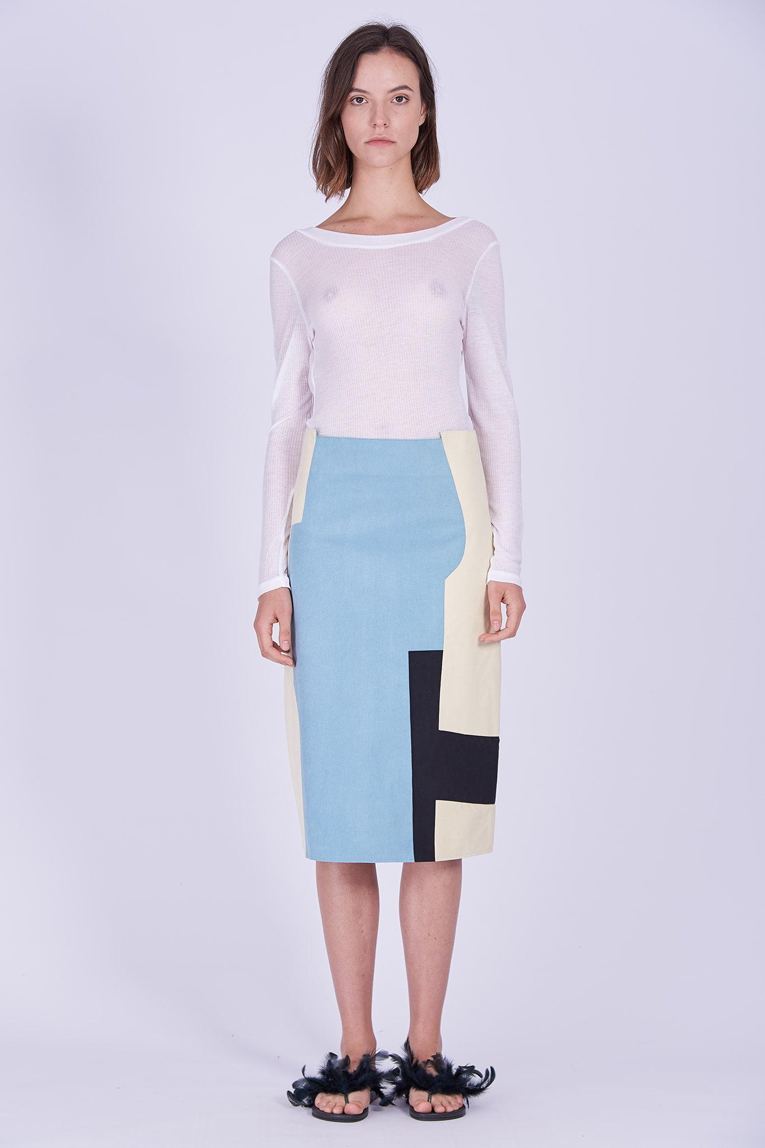 Acephala Ps2020 White Transparent Longsleeve Blue Creme Black Patchwork Skirt Bialy Spodnica Patchworkowa Front