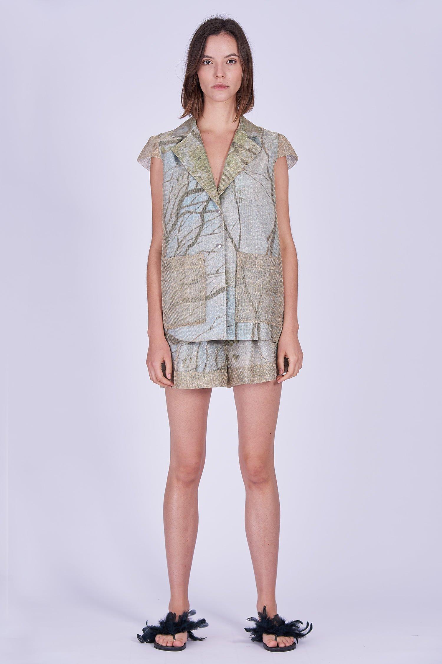 Acephala Ss2020 Gold Jacket Print Shorts Zlota Marynarka Szorty Front
