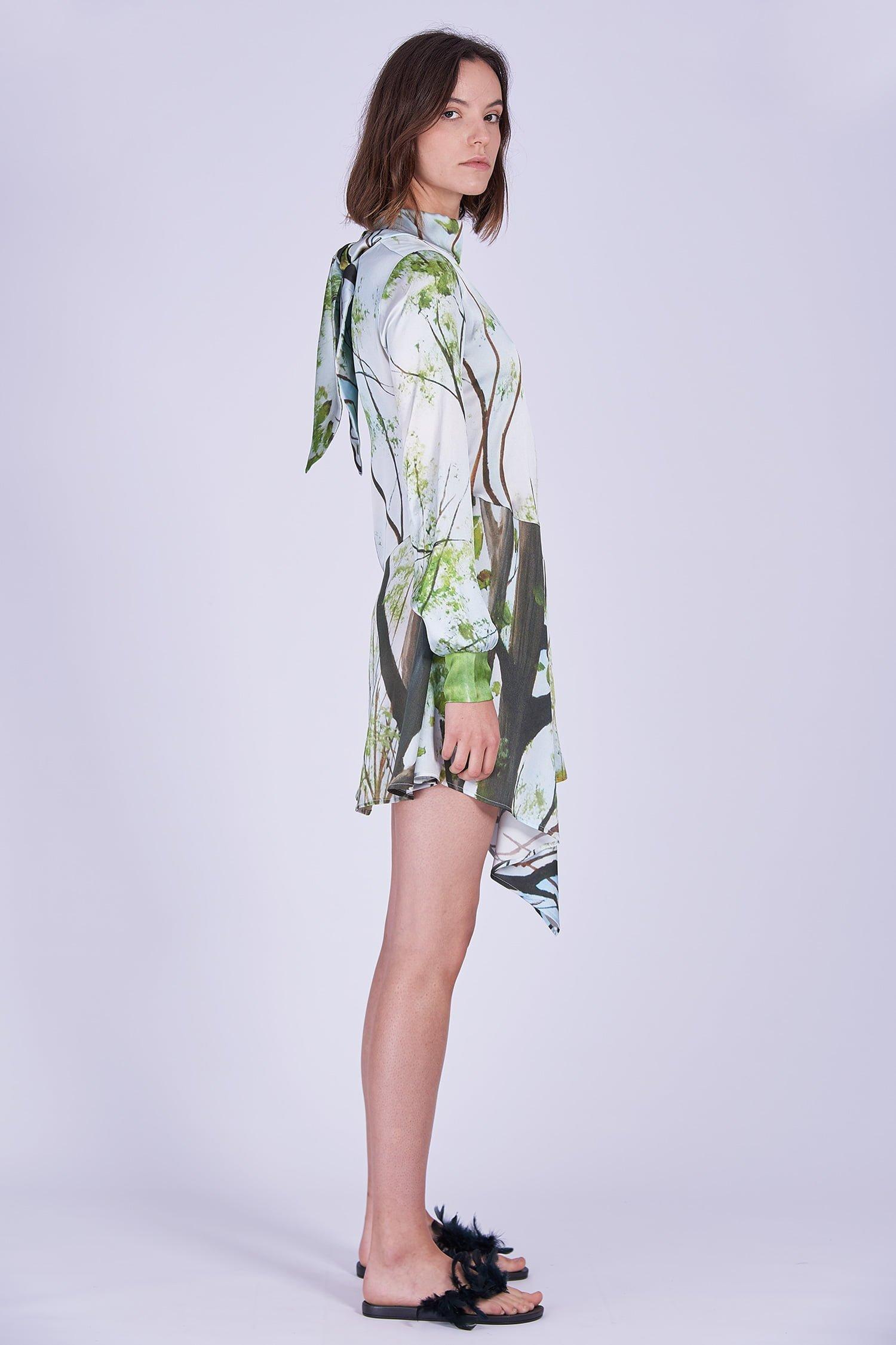 Acephala Ss2020 Printed Silk Longsleeve Dress Jedwabna Sukienka Print Rekaw Side