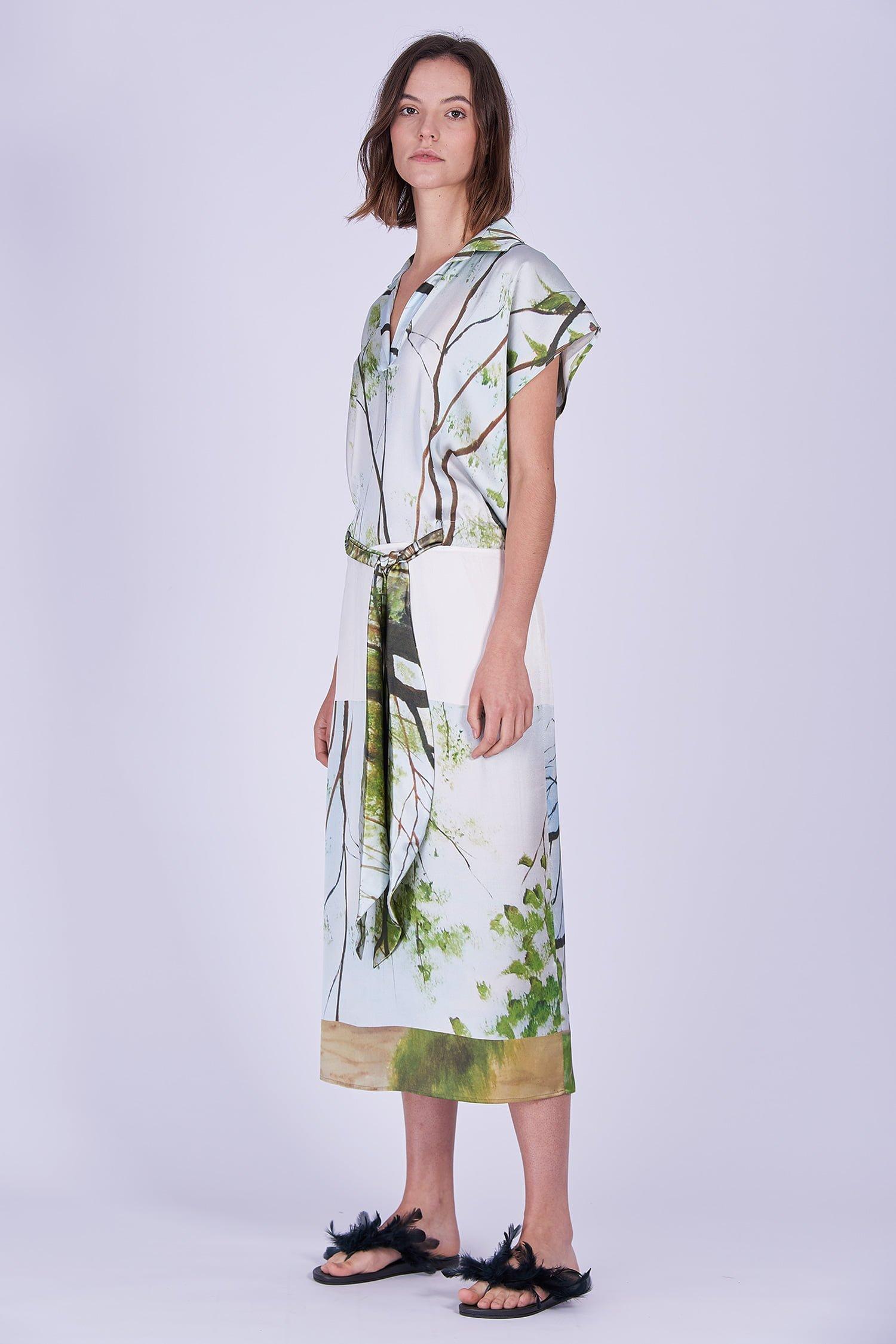 Acephala Ss2020 Printed Silk Shirt Dress Jedwabna Sukienka Print Side 1