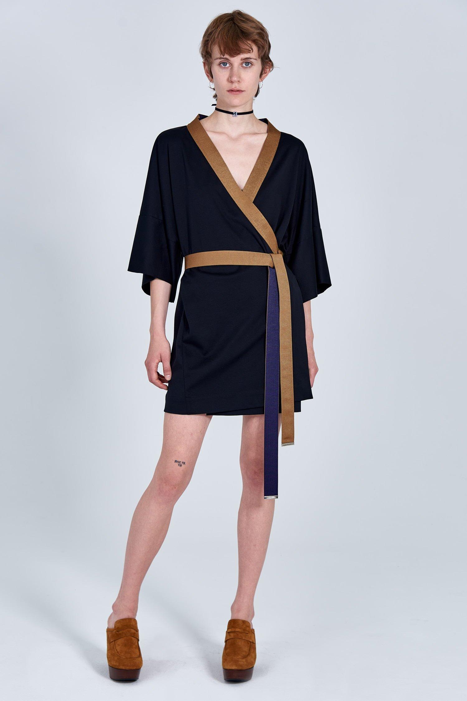 Acephala Fw 2020 21 Black Unisex Kimono With Embroidery On Back Female