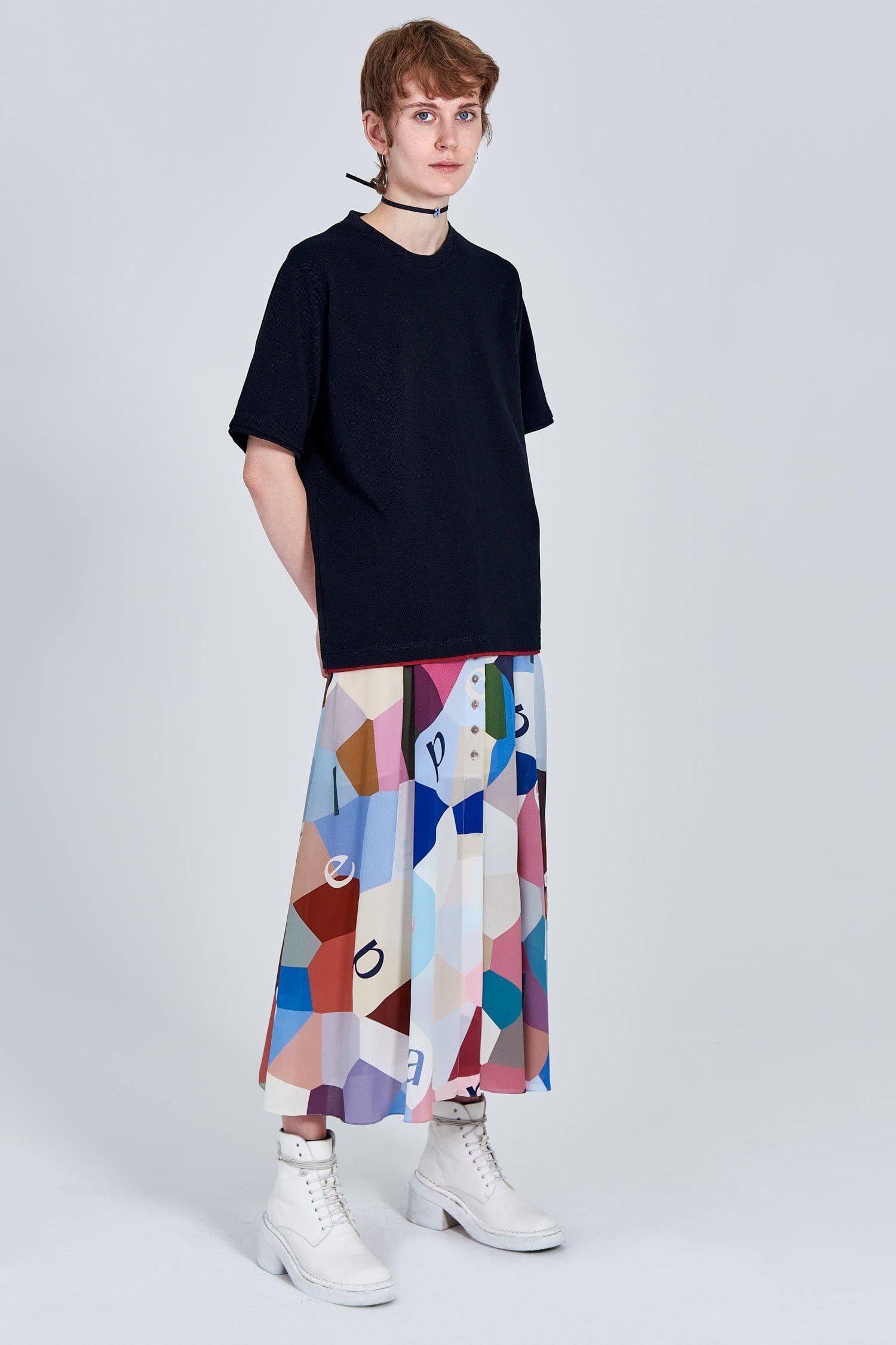 Acephala Fw 2020 21 Black Unisex T Shirt Back Patch Female Side Front