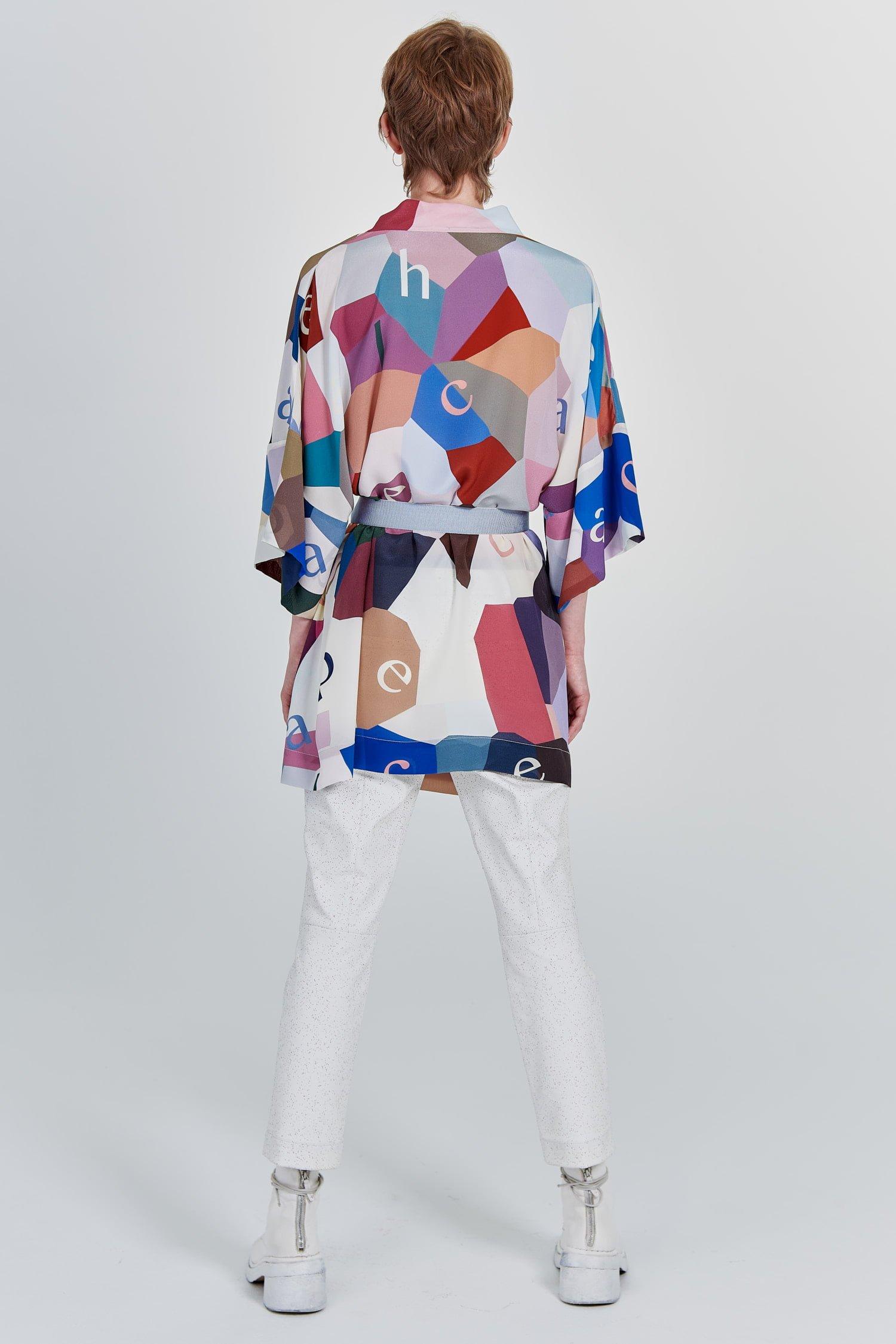 Acephala Fw 2020 21 Printed Silk Kimono Back