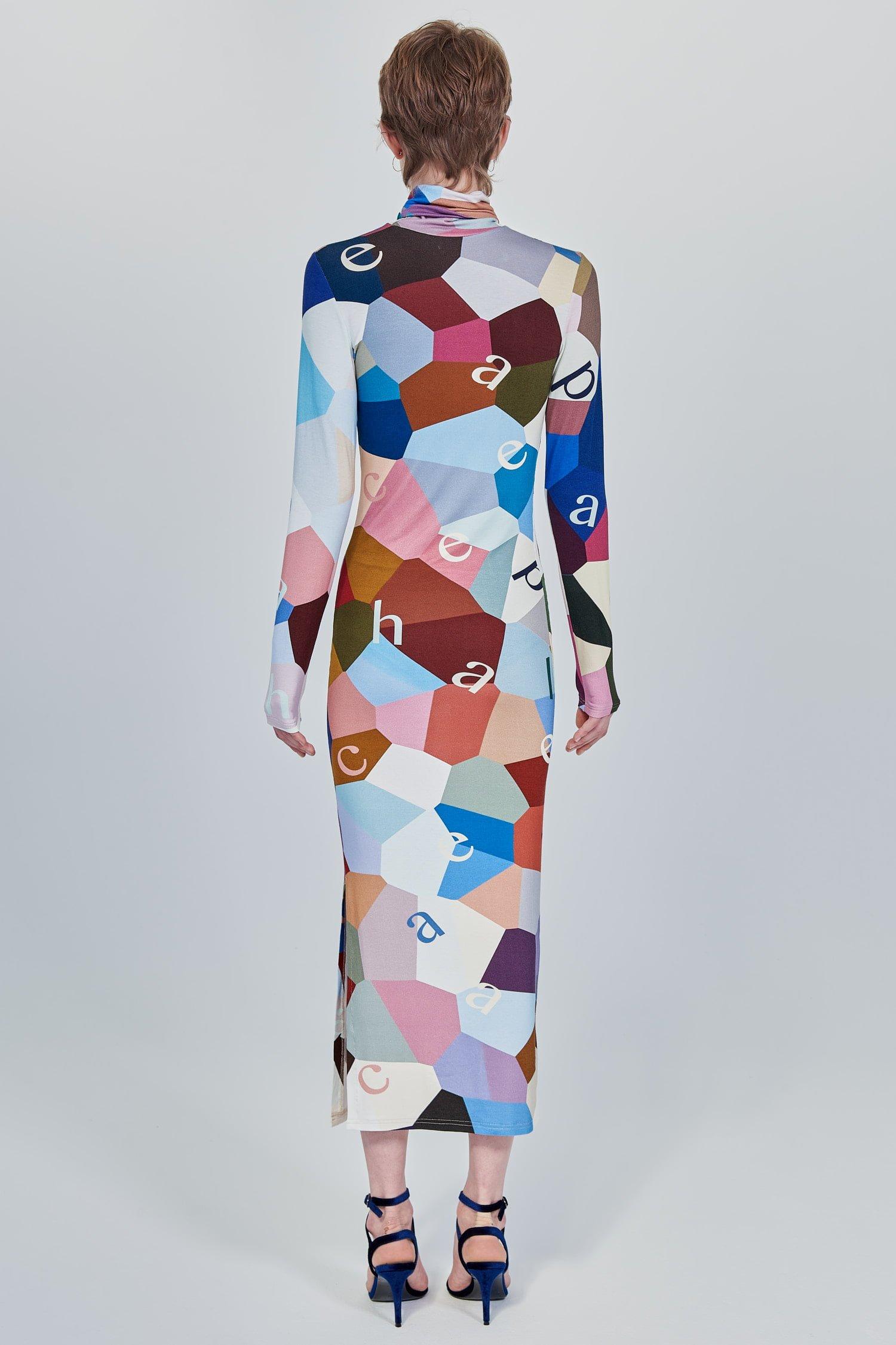 Acephala Fw 2020 21 Printed Turtleneck Long Dress Back
