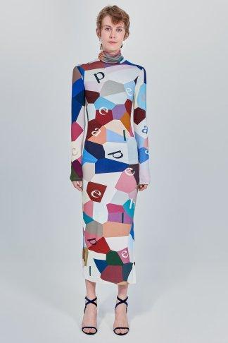Acephala Fw 2020 21 Printed Turtleneck Long Dress Front