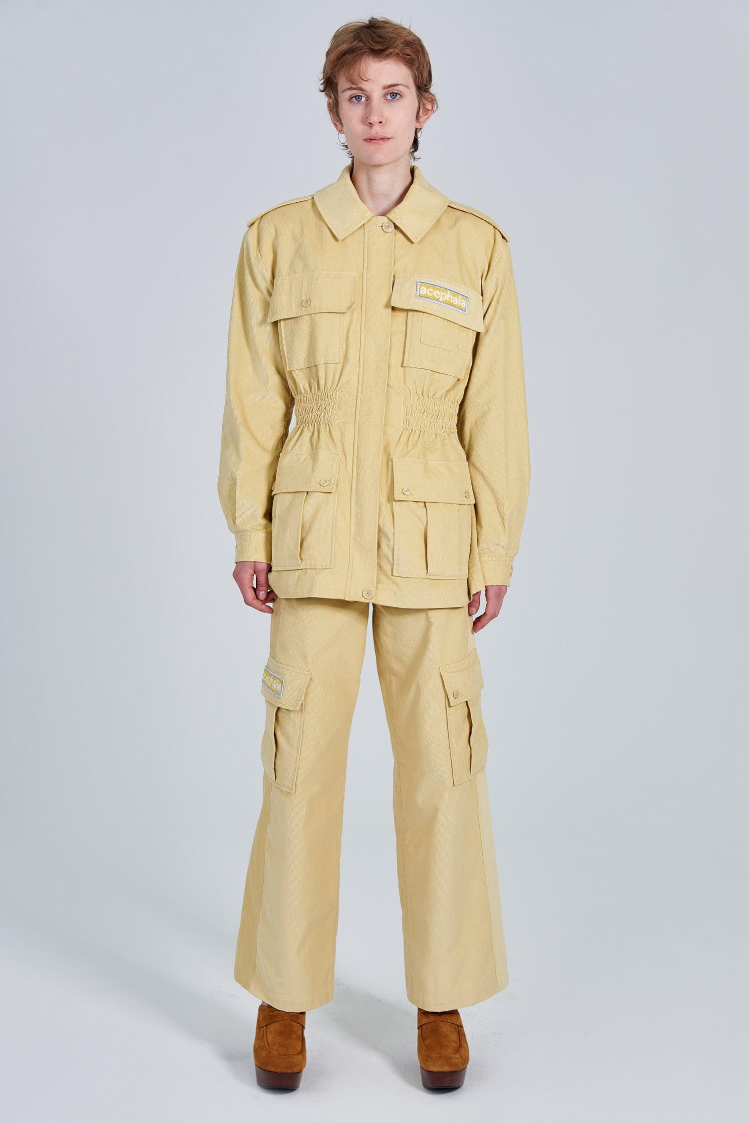 Acephala Fw 2020 21 Yellow Corduroy Trousers Jacket Female Front