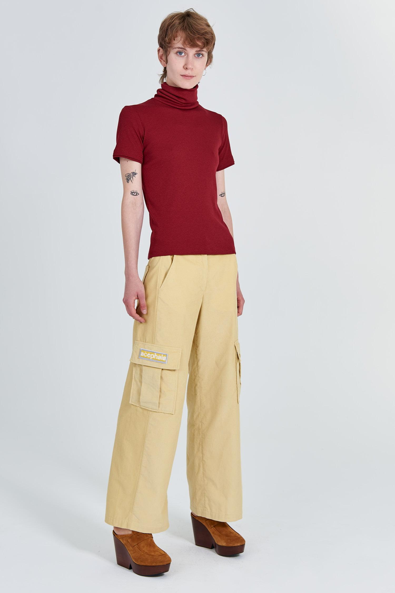 Acephala Fw 2020 21 Yellow Corduroy Trousers Red Turtleneck