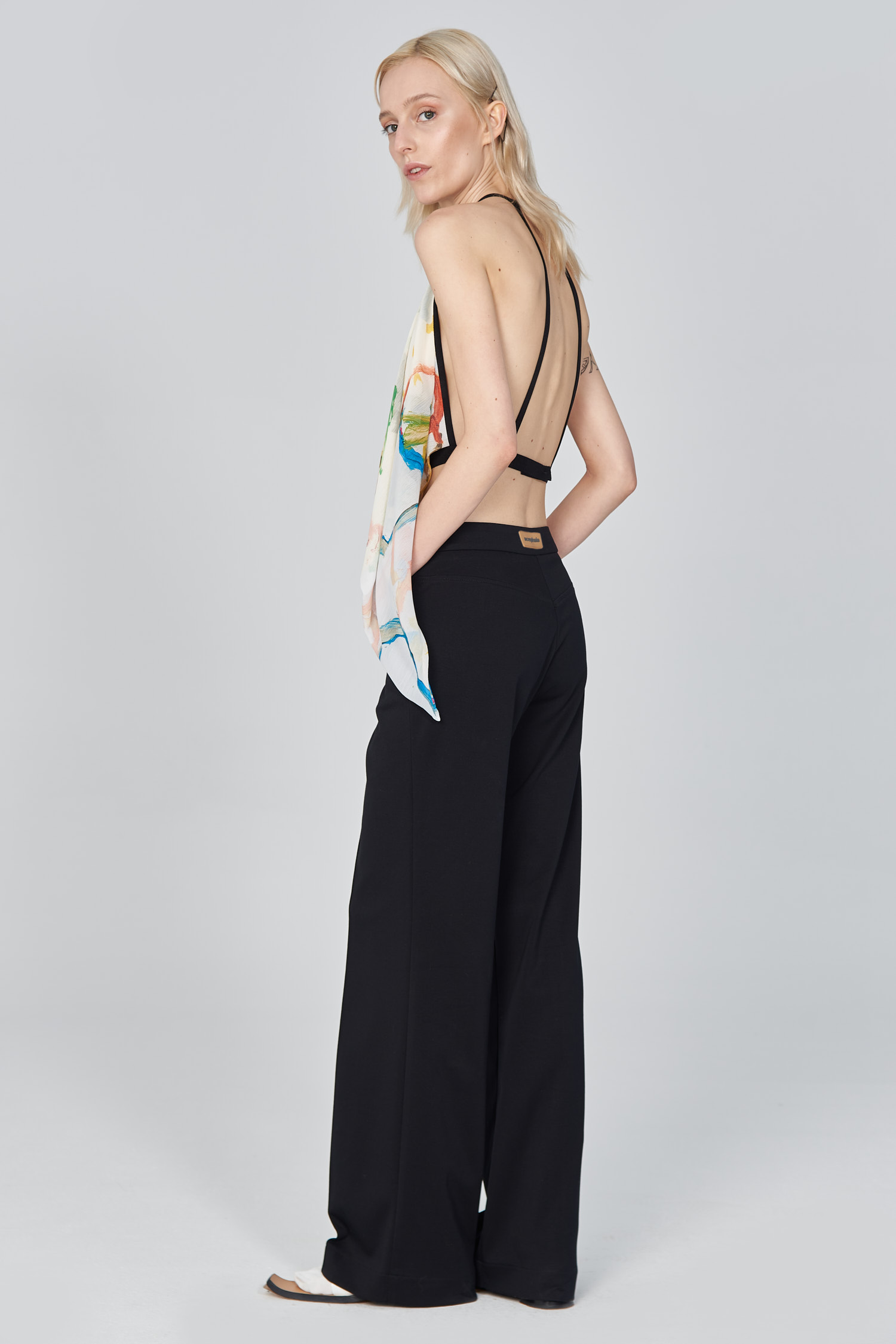 Acephala Ss21 Black Flared Trousers Printed Open Back Top Side