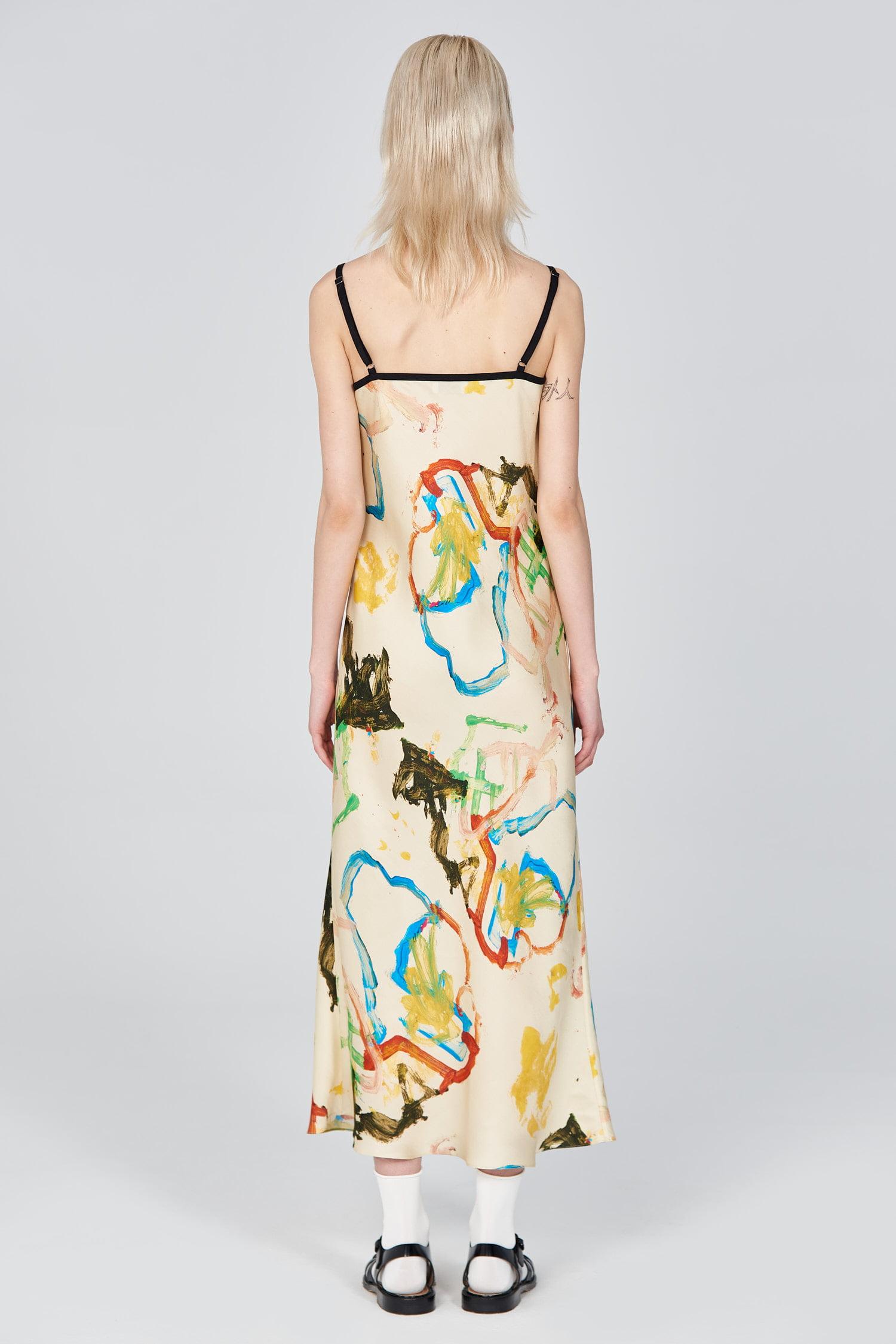 Acephala Ss21 Printed Slip Dress Back