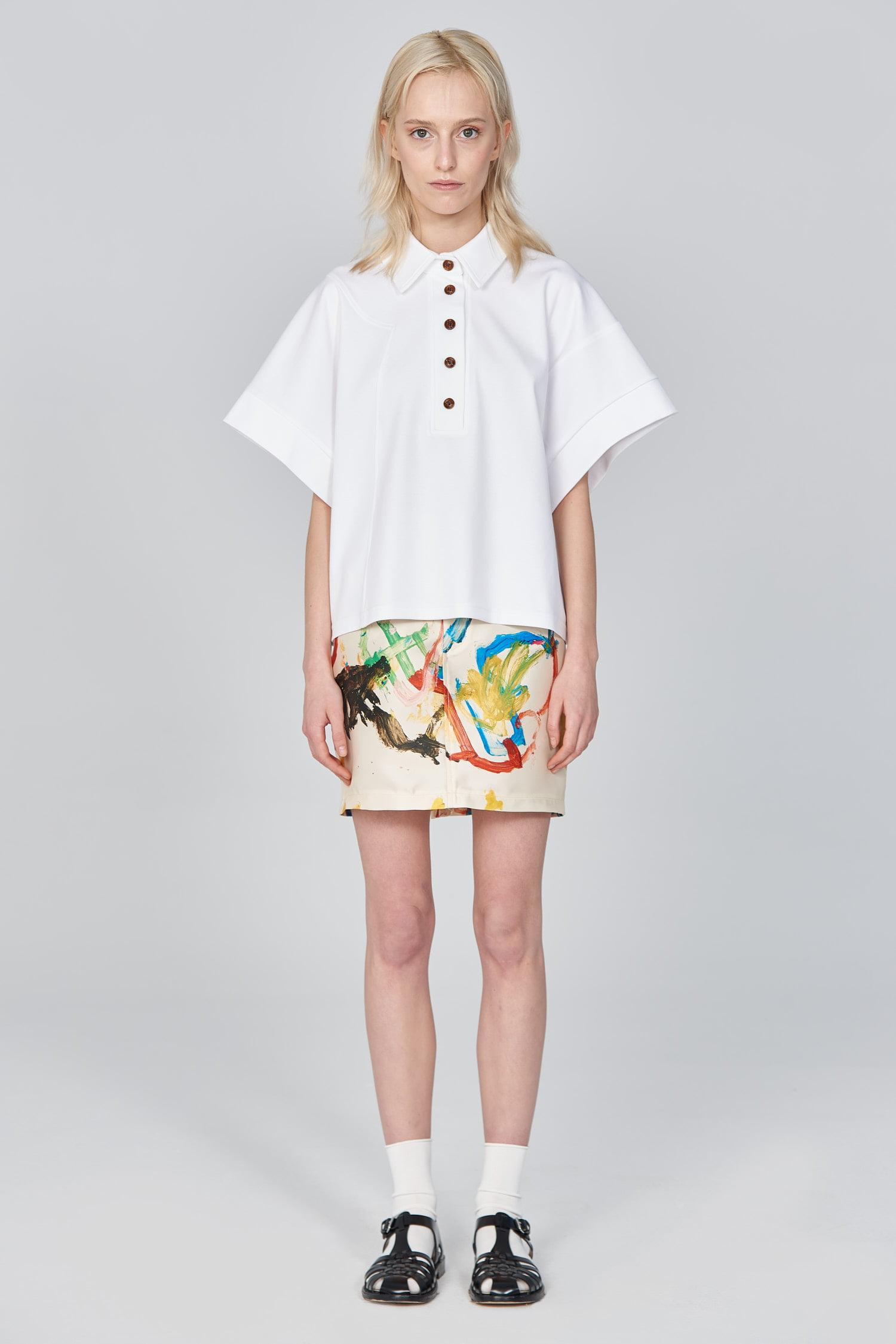 Acephala Ss21 White Polo Shirt Front