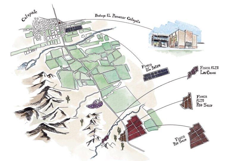 Mapa de las fincas de El Porvenir de Cafayate.