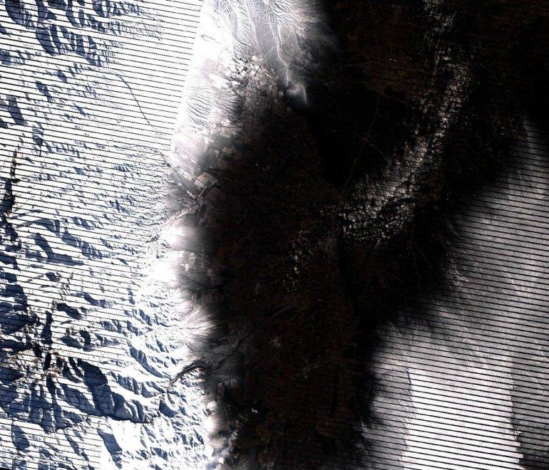 Nieve en los viñedos - Imagen de la Cordillera de los Andes el 5 de julio luego de la nevada (Foto: CBERS-4)