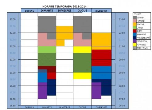 HORARIS DEFINITIUS TEMPORADA 13-14