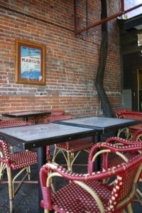 The patio at Bistro Laurent is on the east side
