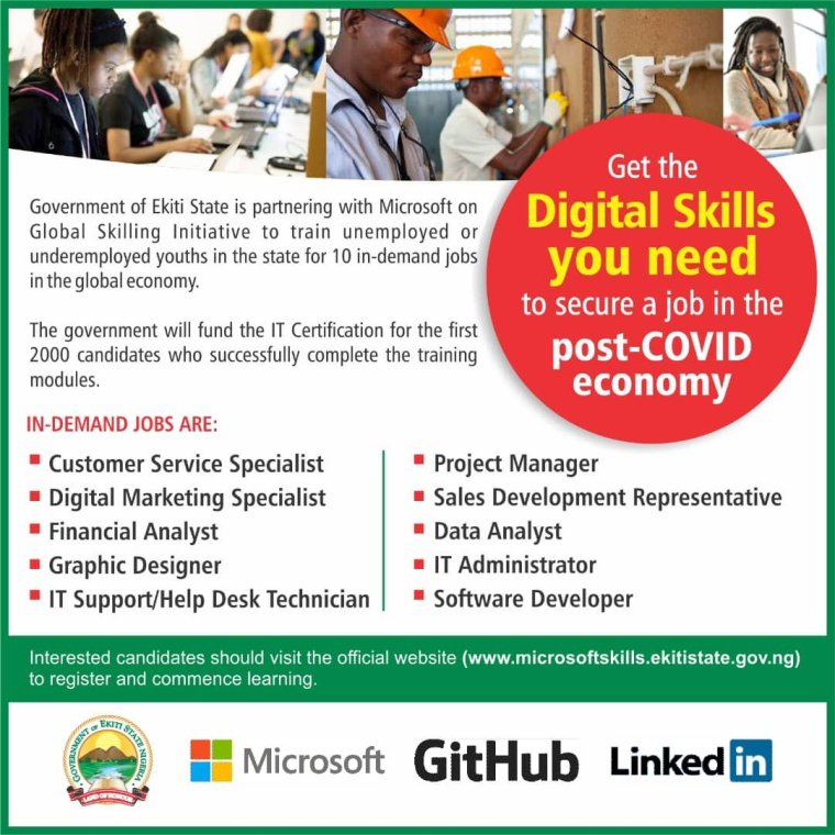 Ekiti State partners Microsoft to certify 2,000 youth in IT skills
