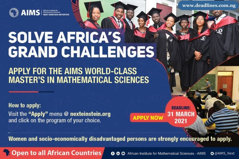 AIMS Fully Funded Structured Master's Program in Mathematical Sciences 2021