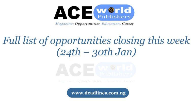 Week 4: Full list of opportunities closing this week (24th – 30th Jan)