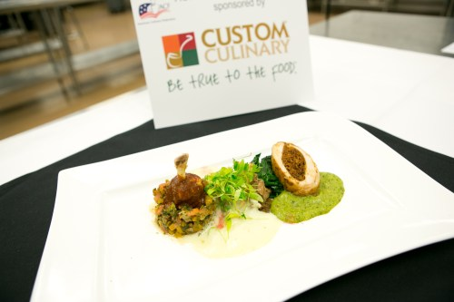 Chef Aguayo's winning dish: roasted stuffed chicken breast with chorizo stuffing and tomatillo sauce; braised chicken and pinto bean flauta; avocado cream and finger lime; leg steamed adobado with mole sauce; picadillo of butternut squash and wilted winter greens.