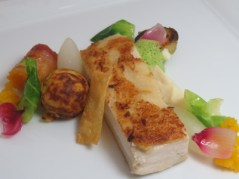 Roasted chicken breast with smoked bacon and chicken mousse, butternut and bacon takoyaki, braised daikon, truffle celery root puree and red wine szechuan pepper sauce