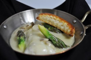 Filets de Sole Lady Egmont lightly poached with mushroom and asparagus cream sauce