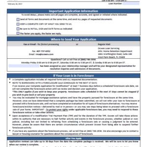 Ocwen Loan Modification Program's Application Forms By Mail