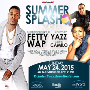 SUMMER SPLASH 2015  Hosted by #YAZZ! #MDW Sunday 5/24 - DJ Camilo and Mystery Guest! The Pool After Dark #AtlanticCity - Limited Pre-Sale Tickets Available - ACGuestlist.com