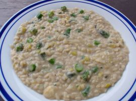 Risotto With Leek, Asparagus & Blue Cheese