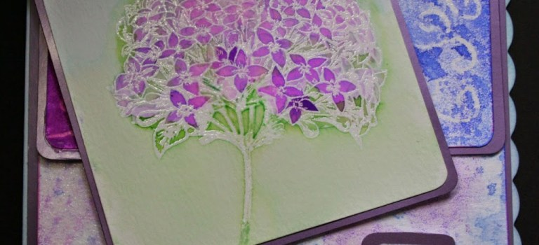 Hydrangea watercolour resist card
