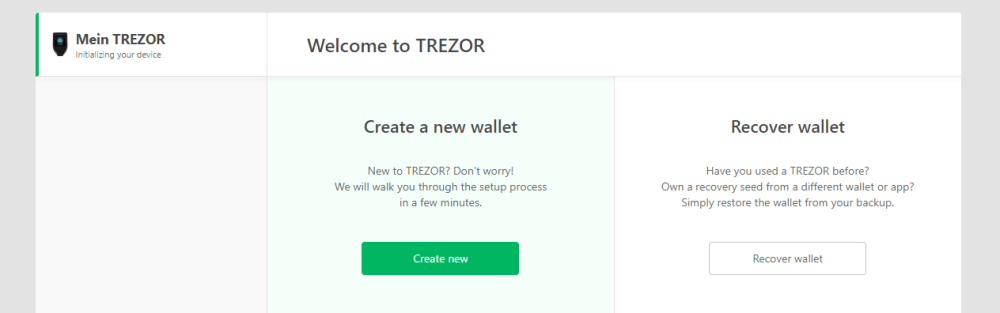 creer wallet trezor model t