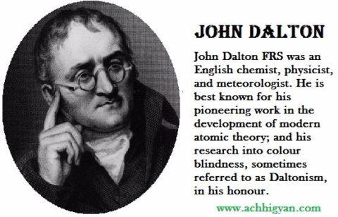 विज्ञानी जॉन डाल्टन की जीवनी   John Dalton Biography In Hindi