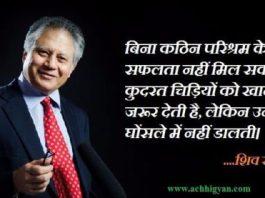 शिव खेड़ा के महत्वपूर्ण अनमोल विचार   Shiv Khera Quotes in Hindi