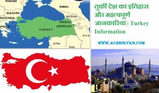 तुर्की देश का इतिहास और महत्वपूर्ण जानकारियां   Turkey Information