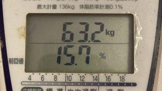 【体脂肪至上主義】体重:63.2kg 体脂肪:15.7%