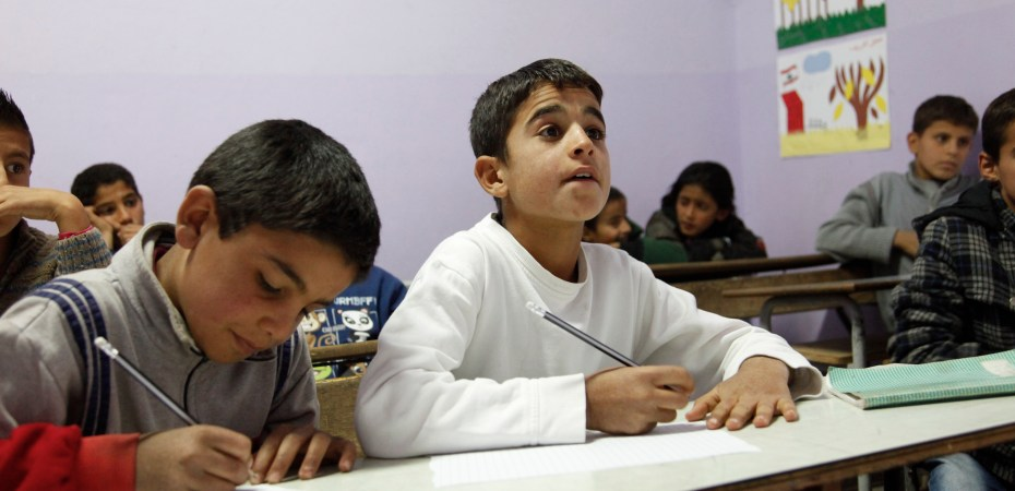 Muhanad and Ahmad, refugees from Syria in school in Lebanon's Bekaa Valley