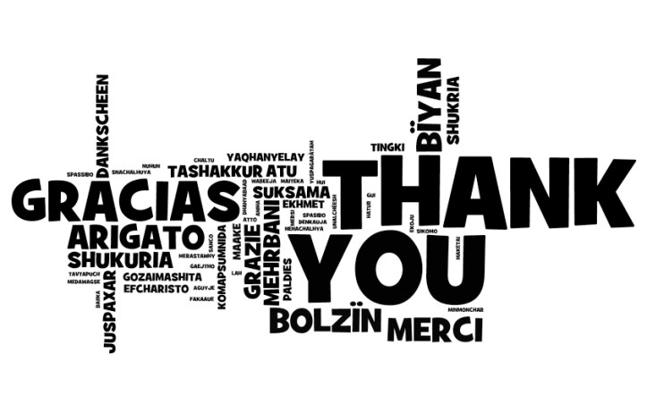 Thank you note, written in multiple languages.