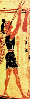 """Detail from the """"Chigi Vase,"""" a ProtoCorinthian Olpe ca. 650-640 BC by the Chigi Painter depicting a youth playing an aulos. Source: Wikimedia Commons"""