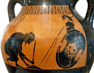 Attic Black-Figure Amphora ca. 530 BCE attributed to the painter Exekias, depicting the suicide of Telamonian Aias (Ajax) after Odysseus wins Achilles' glorious armor in a competition with Aias. Source: Wikimedia Commons