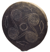 "Early Cycladic II era clay ""frying-pan"" ca. 2700-2500 BCE depicting the sun surrounded by ocean waves and fish. Source: Wikimedia Commons"