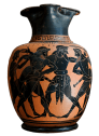 Attic Black-Figure Oinochoe by the Taleides Painter ca. 520 BCE, depicting Odysseus and Aias (Ajax) quarreling over Achilles' armor. Source: Wikimedia Commons
