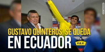 El presidente de la FEF, Carlos Villacís (i) ratificó la continuidad de Gustavo Quinteros al mando de la Tri hasta la culminación de las Eliminatorias.