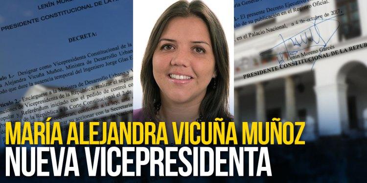 Vicepresidenta Constitucional de la República del Ecuador a María Alejandra Vicuña Muñoz