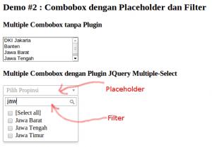 Contoh Demo 2: JQuery Multiple-Select dengan Placeholder dan Filter