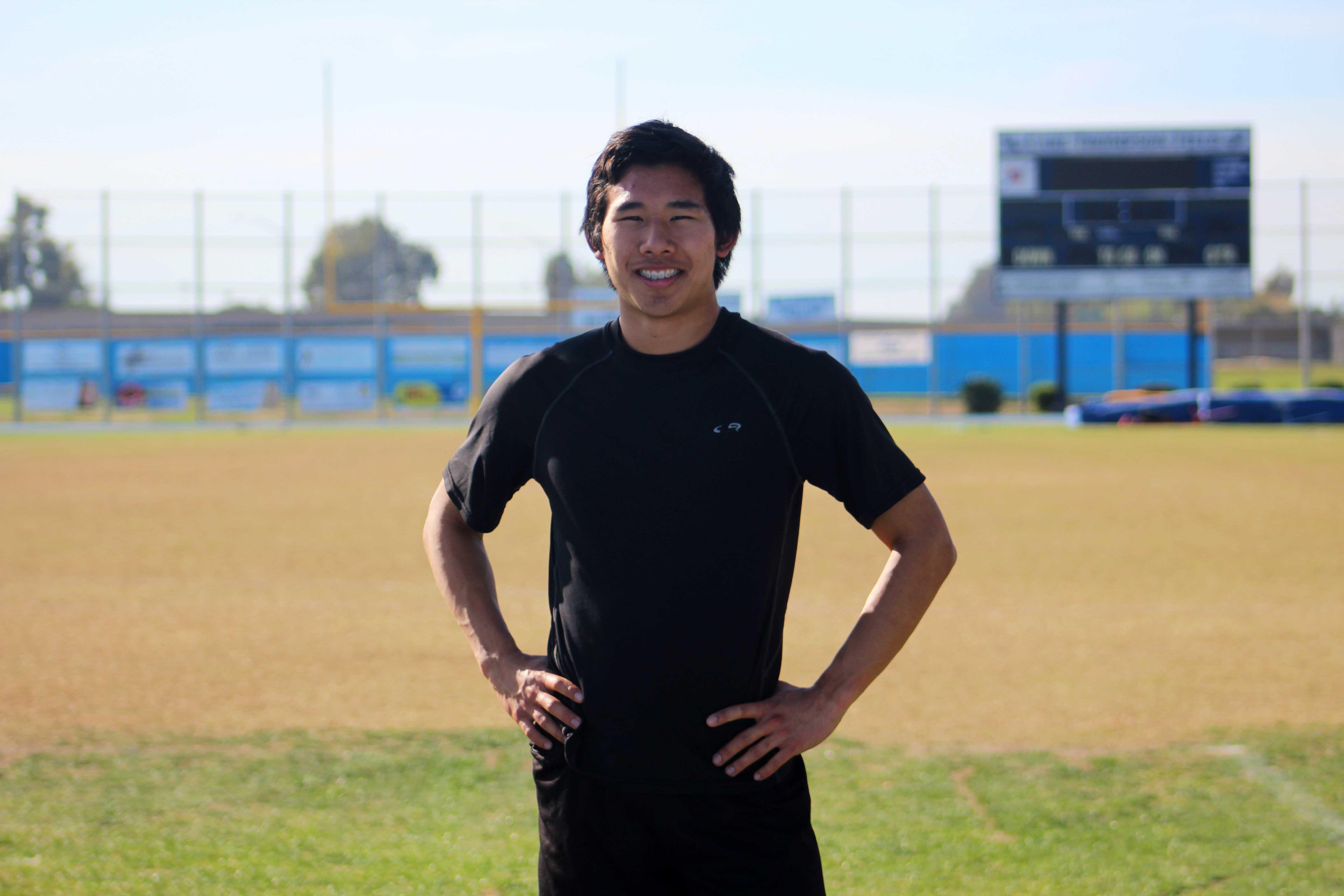 Ethen Chen, senior, during his track practice