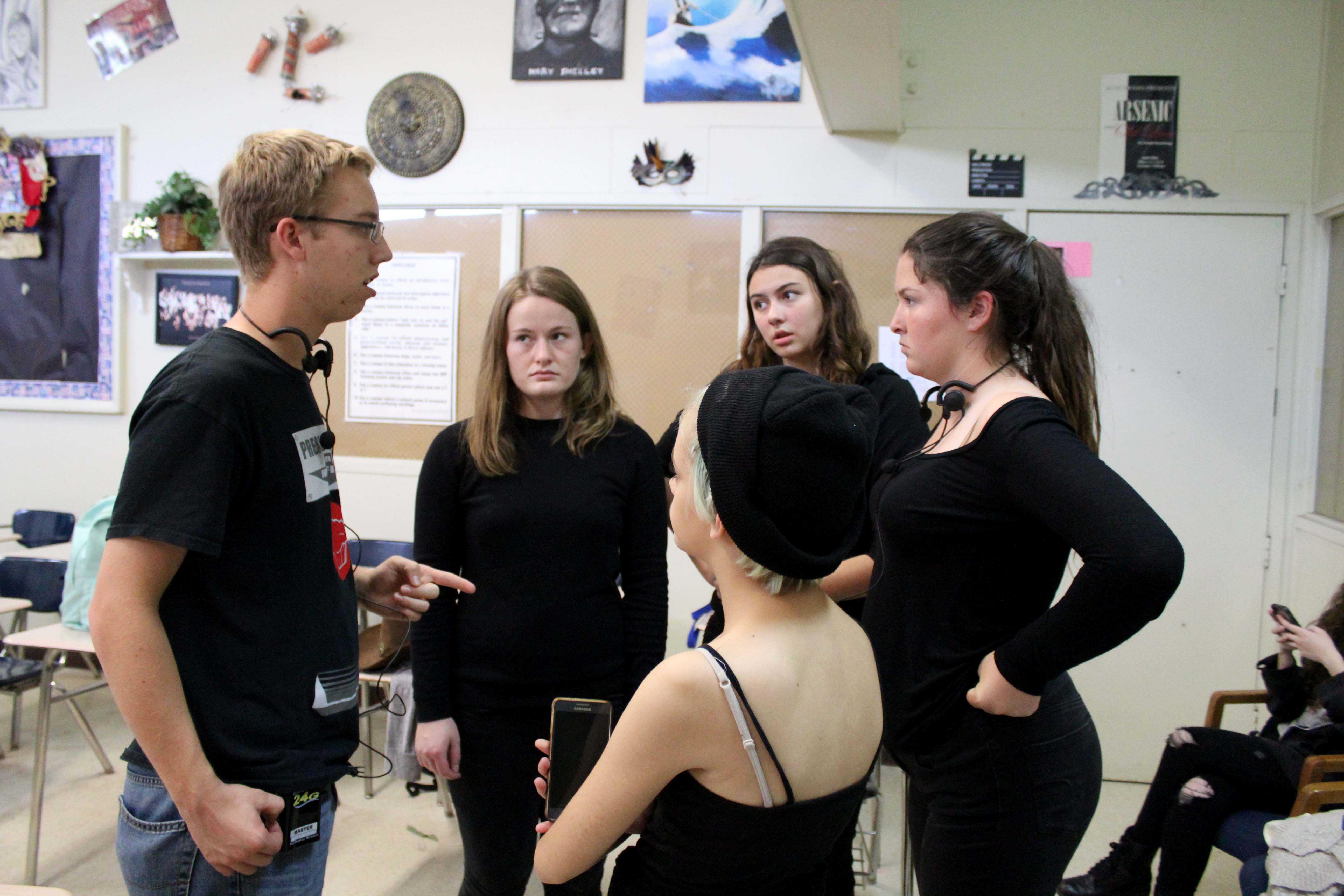 Chase Anthony, senior, leading the backstage crew: Hayley Abell (senior), Kathryn Gutierrez (junior), Amanda Chisholm (sophomore), and Bethany Diaz (freshman).