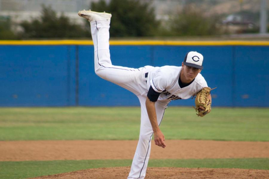 Andrew+Lucas%2C+junior%2C+pitcher+of+Cam+High%27s+baseball+varsity+team+releases+the+ball+during+the+Oak+Park+game.