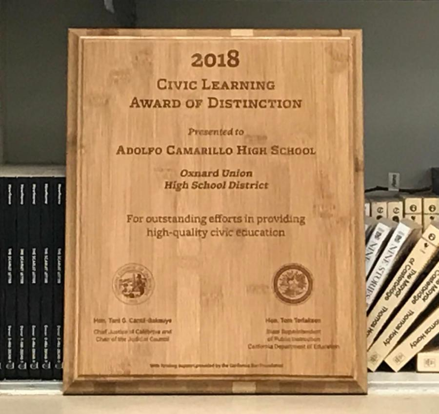 The+Civic+Learning+Award+of+Distinction+presented+to+Cam+High.+Photo+by+Jasmine+Plascencia.+