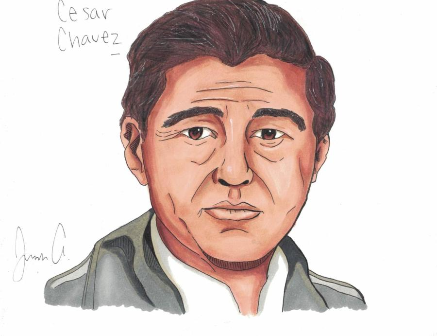 Artwork++by%3A+Jonah+Arellano.%0APortrait+of+Cesar+Chavez%2C+a+Hispanic+icon+who+fought++the+injustice+against+Hispanic+farm+workers+during+the+1960%27s+to+the+1990%27s.