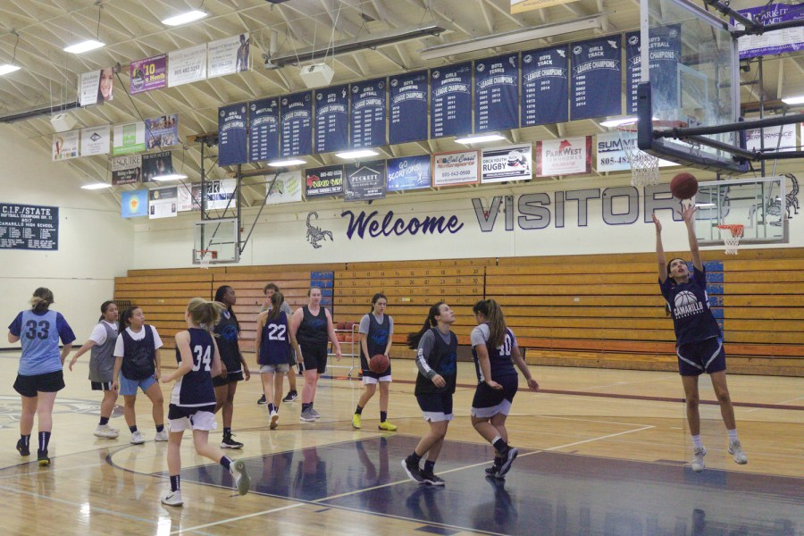 Girls+Basketball+practicing+at+the+Cam+High+gym.