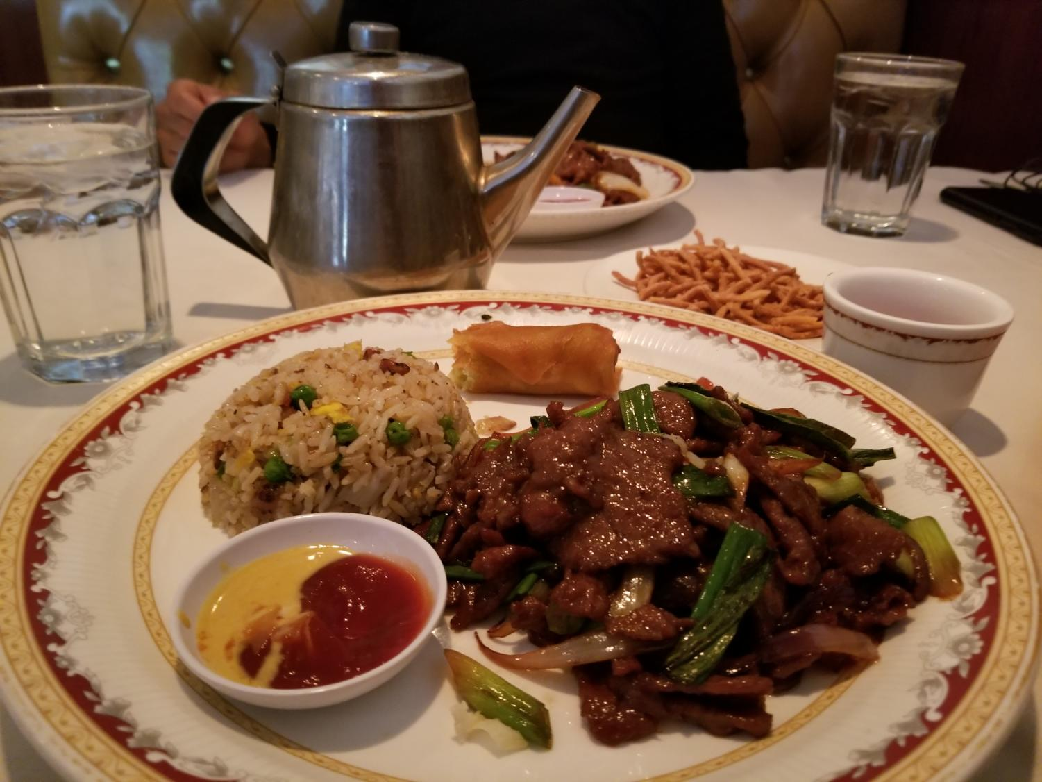 Chester's Mongolian beef with green onions.